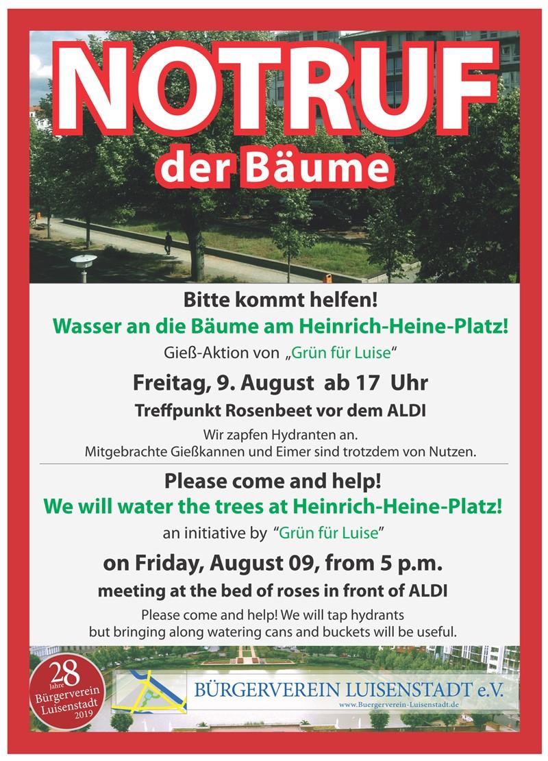 """Bürgerverein Luisenstadt e.V. - NOTRUF der Bäume - unsere neue AG """"Grün für Luise"""" wässert mit Ihnen"""
