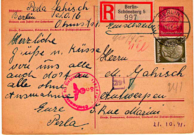 [Doc 4, Letter from Perla Jahisch, 21 October 1941]