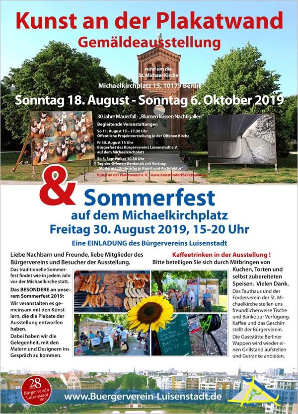 """Bürgerverein Luisenstadt e.V. - Aug-Okt: Ausstellung - """"Blumen küssen Nachtigallen"""" Kunst an der Plakatwand"""