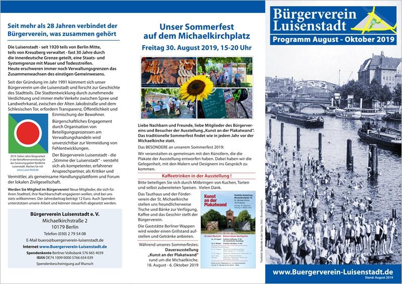 Bürgerverein Luisenstadt e.V. - Vorschau: Unser neues Veranstaltungsprogramm bis Oktober 2019